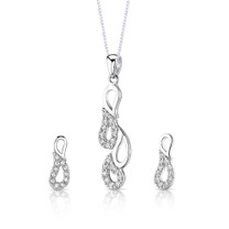 Classy pear design Sterling Silver Pendant Earrings Necklace Set with CZ Style SS3080
