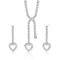 Sterling Silver Heart Lariat Tennis Necklace Earrings Set with White CZ Style SS3098