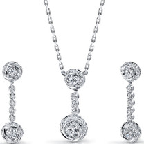 Precious Extravagance: Sterling Silver Rose Necklace Earrings Set with CZ Style SS3116