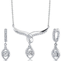 Sterling Silver Bridal Teardrop Necklace Earrings Set with CZ Style SS3120