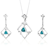 Artful 1.75 carats Trillion Cut Sterling Silver Swiss Blue Topaz Pendant Earrings Set Style SS3130
