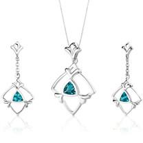 Artful 1.75 carats Trillion Cut Sterling Silver Swiss Blue Topaz Pendant Earrings Set Style SS3130