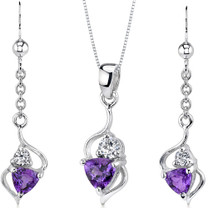 Classy 1.50 carats Trillion Cut Sterling Silver Amethyst Pendant Earrings Set Style SS3166