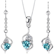 Classy 1.75 carats Trillion Cut Sterling Silver Swiss Blue Topaz Pendant Earrings Set Style SS3172