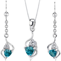 Classy 1.75 carats Trillion Cut Sterling Silver London Blue Topaz Pendant Earrings Set Style SS3174