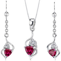 Classy 2.25 carats Trillion Cut Sterling Silver Ruby Pendant Earrings Set Style SS3176