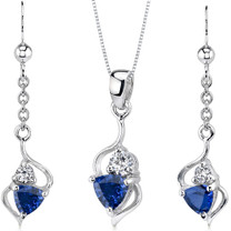 Classy 2.25 carats Trillion Cut Sterling Silver Sapphire Pendant Earrings Set Style SS3178