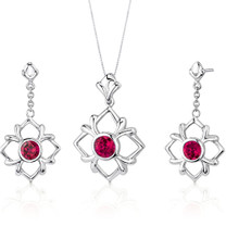 Floral Design 3.75 carats Round Cut Sterling Silver Ruby Pendant Earrings Set Style SS3218