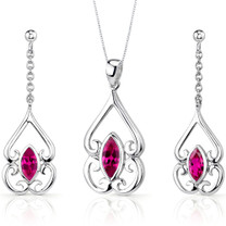 Ornate Style 2.75 carats Marquise Cut Sterling Silver Ruby Pendant Earrings Set Style SS3232