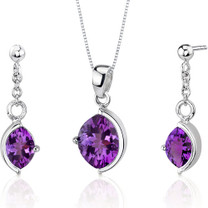 Museum Design 4.00 carats Marquise Cut Sterling Silver Amethyst Pendant Earrings Set Style SS3250