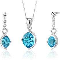 Museum Design 5.25 carats Marquise Cut Sterling Silver Swiss Blue Topaz Pendant Earrings Set Style SS3256