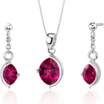 Museum Design 6.00 carats Marquise Cut Sterling Silver Ruby Pendant Earrings Set Style SS3260