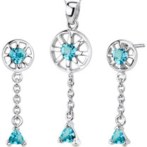 Dainty 2.00 carats Trillion Heart Shape Sterling Silver Swiss Blue Topaz Pendant Earrings Set Style SS3284