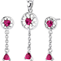 Dainty 2.25 carats Trillion Heart Shape Sterling Silver Ruby Pendant Earrings Set Style SS3288