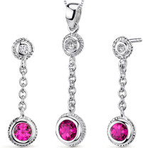 Bezel Set 1.50 carats Round Shape Sterling Silver Ruby Pendant Earrings Set Style SS3330