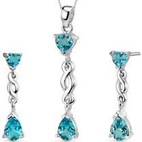 3.25 carats Pear Heart Shape Sterling Silver Swiss Blue Topaz Pendant Earrings Set Style SS3340