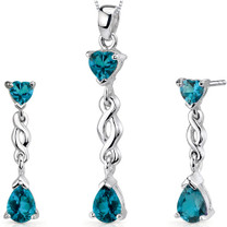 3.25 carats Pear Heart Shape Sterling Silver London Blue Topaz Pendant Earrings Set Style SS3342