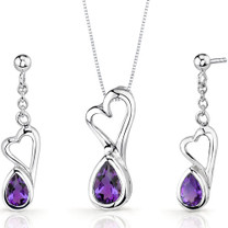 Heart Design 1.50 carats Pear Shape Sterling Silver Amethyst Pendant Earrings Set Style SS3376