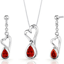 Heart Design 2.00 carats Pear Shape Sterling Silver Garnet Pendant Earrings Set Style SS3378