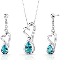 Heart Design 2.00 carats Pear Shape Sterling Silver Swiss Blue Topaz Pendant Earrings Set Style SS3382