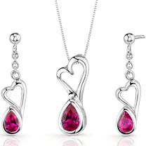 Heart Design 2.00 carats Pear Shape Sterling Silver Ruby Pendant Earrings Set Style SS3386