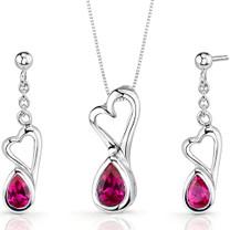 Heart Design 2.00 carats Pear Shape Sterling Silver Ruby Pendant Earrings Set Style SS3386