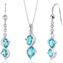 2 Stone 3.75 carats Oval Shape Sterling Silver Swiss Blue Topaz Pendant Earrings Set Style SS3396