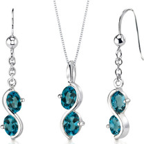 2 Stone 3.75 carats Oval Shape Sterling Silver London Blue Topaz Pendant Earrings Set Style SS3398