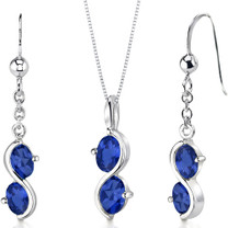 2 Stone 3.75 carats Oval Shape Sterling Silver Sapphire Pendant Earrings Set Style SS3402