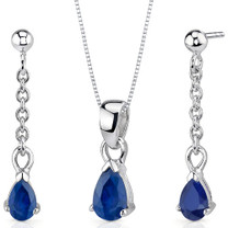 Dangling 2.00 carats Pear Shape Sterling Silver Sapphire Pendant Earrings Set Style SS3416