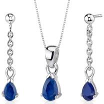 Dangling 2.00 carats Pear Shape Sterling Silver Sapphire Pendant Earrings Set Style SS3416