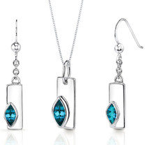 Art Deco 1.25 carats Marquise Shape Sterling Silver London Blue Topaz Pendant Earrings Set Style SS3426