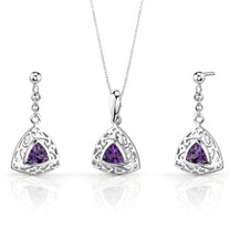 Filigree Design 1.50 carats Trillion Cut Sterling Silver Amethyst Pendant Earrings Set Style SS3432