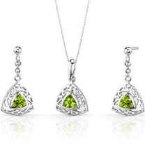 Filigree Design 1.50 carats Trillion Cut Sterling Silver Peridot Pendant Earrings Set Style SS3436