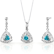 Filigree Design 1.50 carats Trillion Cut Sterling Silver Swiss Blue Topaz Pendant Earrings Set Style SS3438