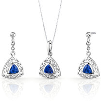 Filigree Design 1.50 carats Trillion Cut Sterling Silver Sapphire Pendant Earrings Set Style SS3444