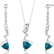 Museum Style 1.75 carats Trillion Cut Sterling Silver London Blue Topaz Pendant Earrings Set Style SS3482