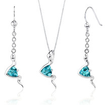 Contemporary Style 1.50 carats Trillion Cut Sterling Silver Swiss Blue Topaz Pendant Earrings Set Style SS3522