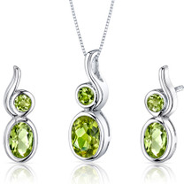 Bezel Set 2.50 carats Oval Shape Sterling Silver Peridot Pendant Earrings Set Style SS3548