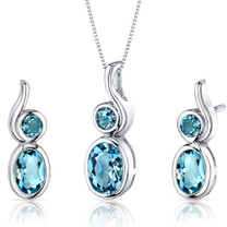 Bezel Set 2.75 carats Oval Shape Sterling Silver Swiss Blue Topaz Pendant Earrings Set Style SS3550