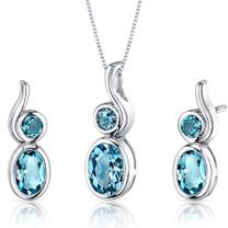 Bezel Set 2.75 carats Oval Shape Sterling Silver Swiss Blue Topaz Pendant Earrings Set Style SS3550