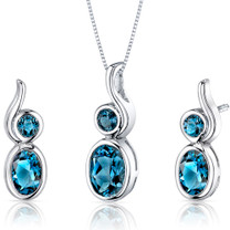 Bezel Set 2.75 carats Oval Shape Sterling Silver London Blue Topaz Pendant Earrings Set Style SS3552