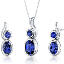 Bezel Set 2.75 carats Oval Shape Sterling Silver Sapphire Pendant Earrings Set Style SS3556