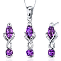 Ornate 2 Stone Design 2.25 carats Marquise Cut Sterling Silver Amethyst Pendant Earrings Set Style SS3614