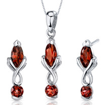 Ornate 2 Stone Design 3.00 carats Marquise Cut Sterling Silver Garnet Pendant Earrings Set Style SS3616