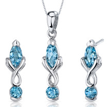 Ornate 2.25 carats Marquise Cut Sterling Silver Swiss Blue Topaz Pendant Earrings Set Style SS3620