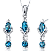 Ornate 2.25 carats Marquise Cut Sterling Silver London Blue Topaz Pendant Earrings Set Style SS3622