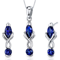 Ornate 2 Stone Design 3.00 carats Marquise Cut Sterling Silver Sapphire Pendant Earrings Set Style SS3626