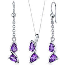 Artistic 1.50 carats Pear Shape Sterling Silver Amethyst Pendant Earrings Set Style SS3698