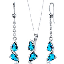 Artistic 3.00 carats Pear Shape Sterling Silver London Blue Topaz Pendant Earrings Set Style SS3706